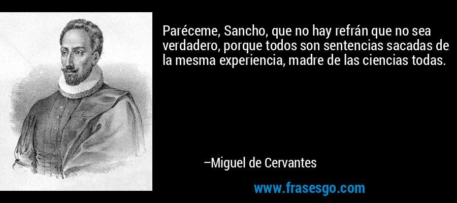 Paréceme, Sancho, que no hay refrán que no sea verdadero, porque todos son sentencias sacadas de la mesma experiencia, madre de las ciencias todas. – Miguel de Cervantes