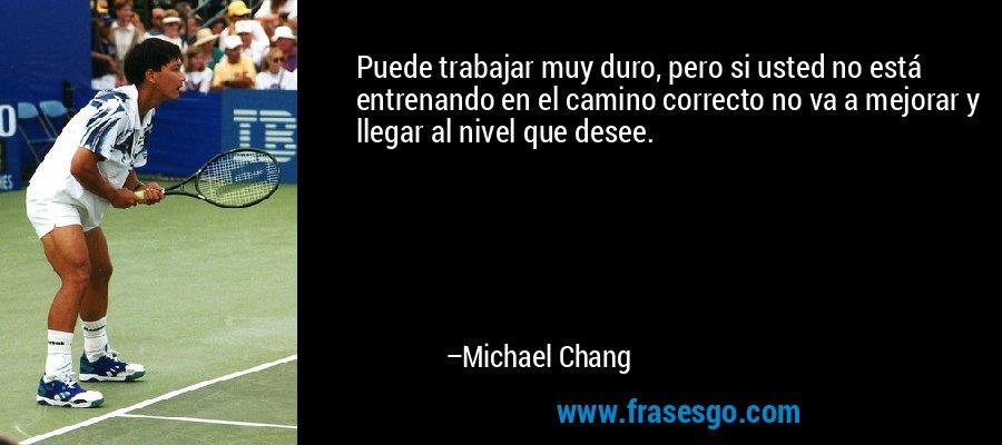 Puede trabajar muy duro, pero si usted no está entrenando en el camino correcto no va a mejorar y llegar al nivel que desee. – Michael Chang