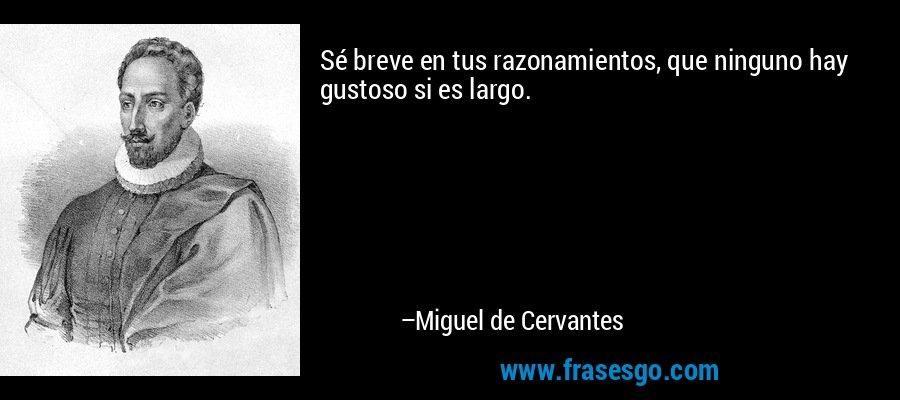 Sé breve en tus razonamientos, que ninguno hay gustoso si es largo. – Miguel de Cervantes