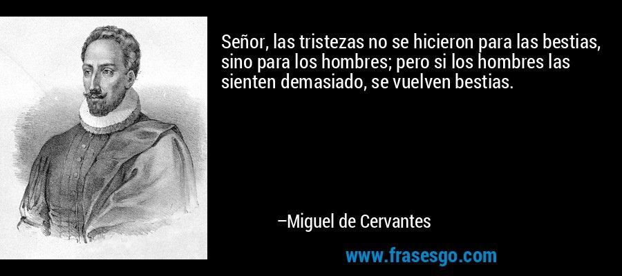 Señor, las tristezas no se hicieron para las bestias, sino para los hombres; pero si los hombres las sienten demasiado, se vuelven bestias. – Miguel de Cervantes