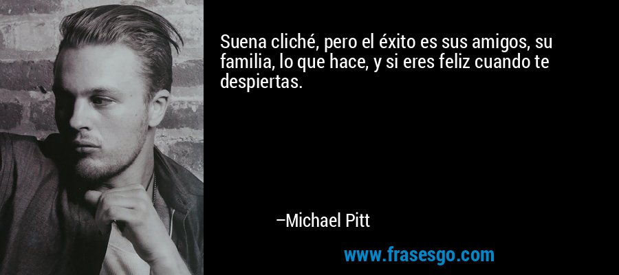 Suena cliché, pero el éxito es sus amigos, su familia, lo que hace, y si eres feliz cuando te despiertas. – Michael Pitt