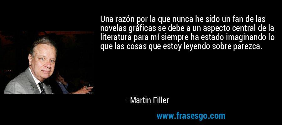 Una razón por la que nunca he sido un fan de las novelas gráficas se debe a un aspecto central de la literatura para mí siempre ha estado imaginando lo que las cosas que estoy leyendo sobre parezca. – Martin Filler