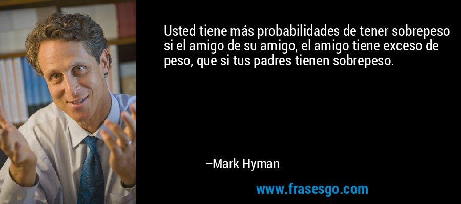 Usted tiene más probabilidades de tener sobrepeso si el amigo de su amigo, el amigo tiene exceso de peso, que si tus padres tienen sobrepeso. – Mark Hyman