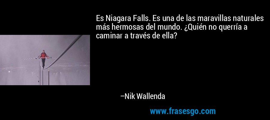 Es Niagara Falls. Es una de las maravillas naturales más hermosas del mundo. ¿Quién no querría a caminar a través de ella? – Nik Wallenda