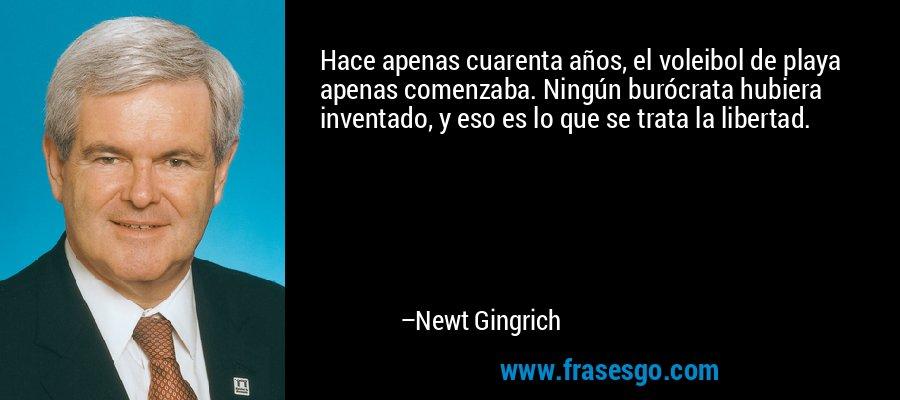 Hace apenas cuarenta años, el voleibol de playa apenas comenzaba. Ningún burócrata hubiera inventado, y eso es lo que se trata la libertad. – Newt Gingrich