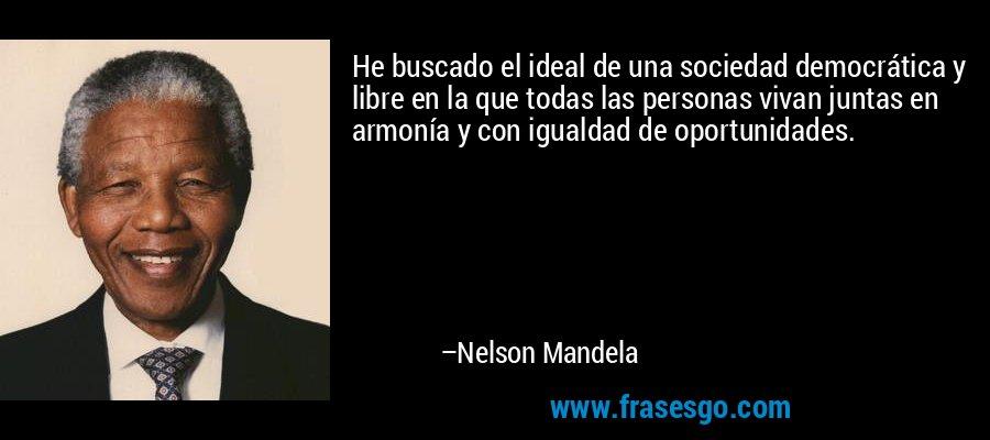 He buscado el ideal de una sociedad democrática y libre en la que todas las personas vivan juntas en armonía y con igualdad de oportunidades. – Nelson Mandela