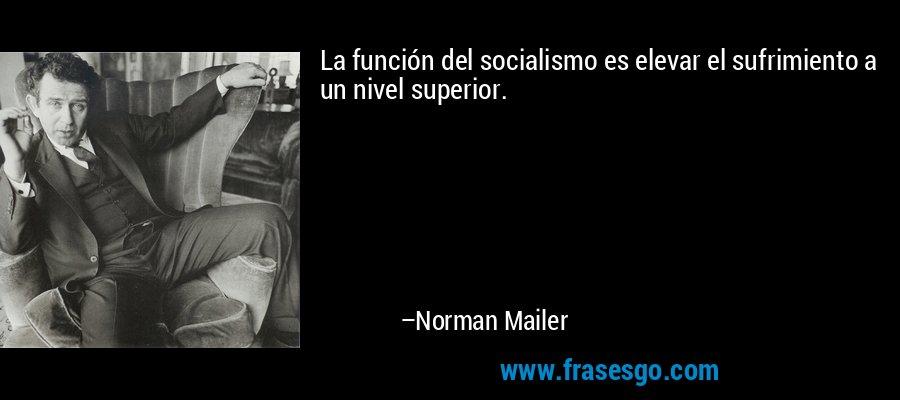 La función del socialismo es elevar el sufrimiento a un nivel superior. – Norman Mailer