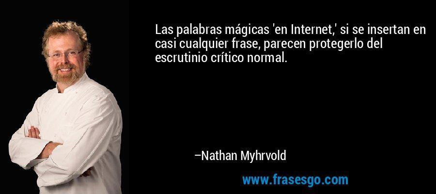 Las palabras mágicas 'en Internet,' si se insertan en casi cualquier frase, parecen protegerlo del escrutinio crítico normal. – Nathan Myhrvold