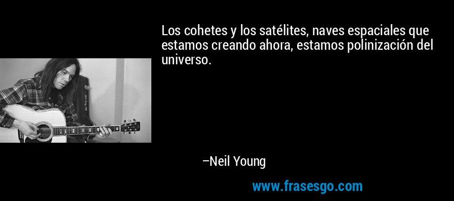 Los cohetes y los satélites, naves espaciales que estamos creando ahora, estamos polinización del universo. – Neil Young