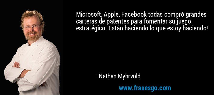 Microsoft, Apple, Facebook todas compró grandes carteras de patentes para fomentar su juego estratégico. Están haciendo lo que estoy haciendo! – Nathan Myhrvold