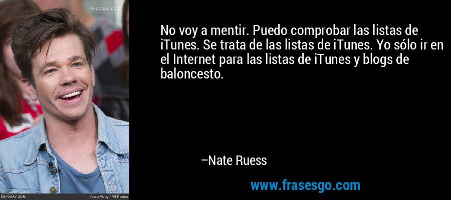 No voy a mentir. Puedo comprobar las listas de iTunes. Se trata de las listas de iTunes. Yo sólo ir en el Internet para las listas de iTunes y blogs de baloncesto. – Nate Ruess