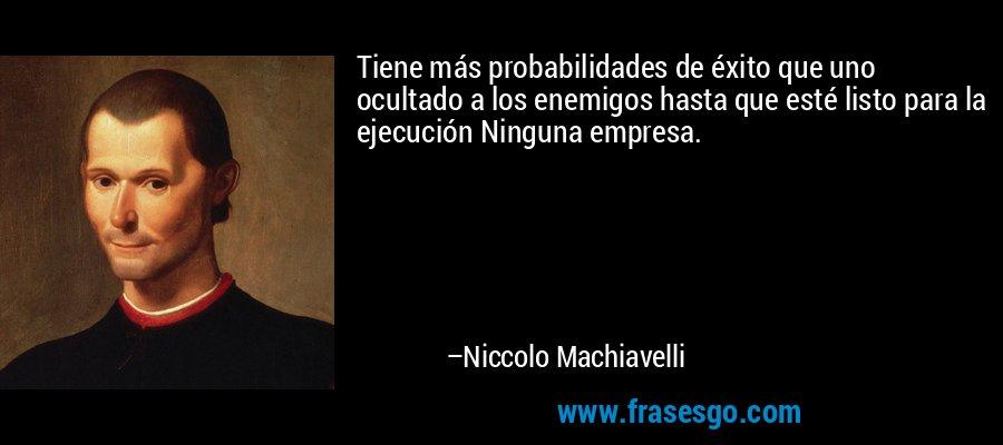 Tiene más probabilidades de éxito que uno ocultado a los enemigos hasta que esté listo para la ejecución Ninguna empresa. – Niccolo Machiavelli