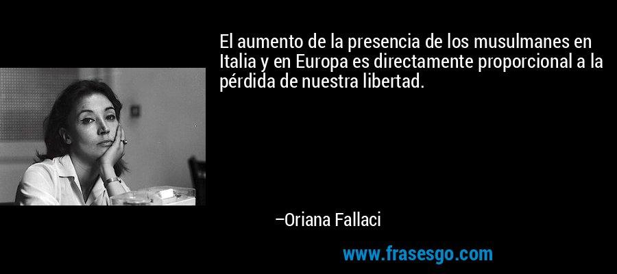 El aumento de la presencia de los musulmanes en Italia y en Europa es directamente proporcional a la pérdida de nuestra libertad. – Oriana Fallaci