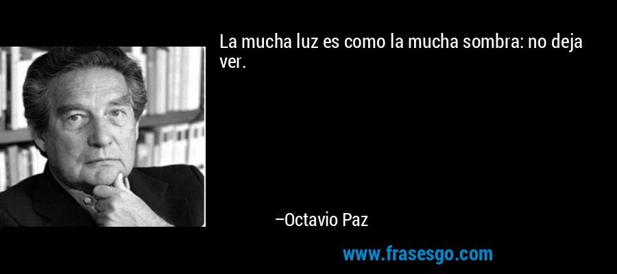 La mucha luz es como la mucha sombra: no deja ver. – Octavio Paz
