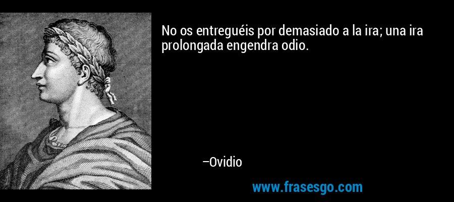 No os entreguéis por demasiado a la ira; una ira prolongada engendra odio. – Ovidio