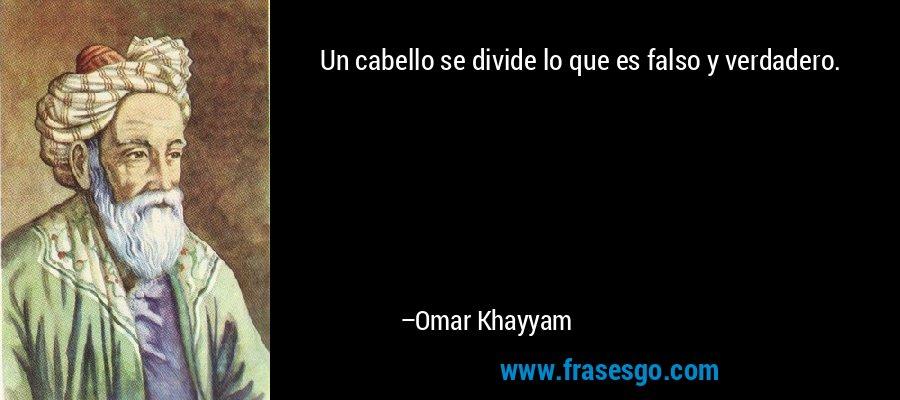 Un cabello se divide lo que es falso y verdadero. – Omar Khayyam