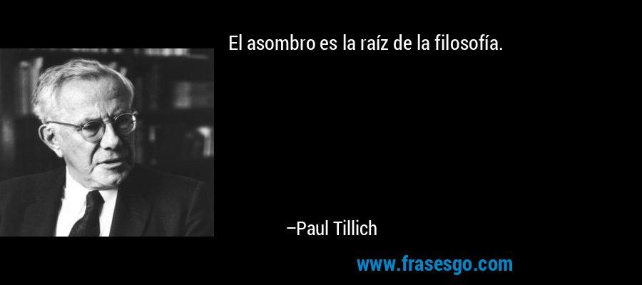 El asombro es la raíz de la filosofía. – Paul Tillich