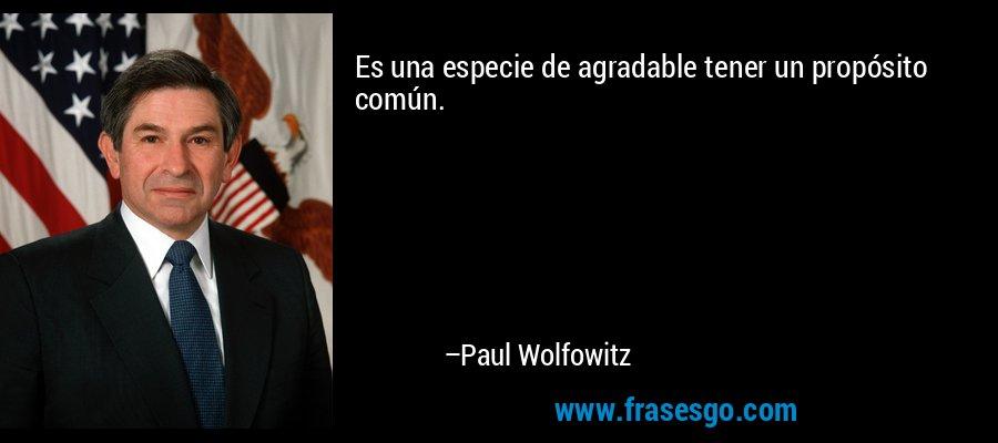 Es una especie de agradable tener un propósito común. – Paul Wolfowitz