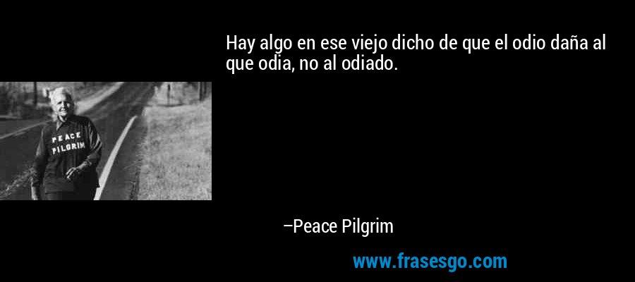 Hay algo en ese viejo dicho de que el odio daña al que odia, no al odiado. – Peace Pilgrim