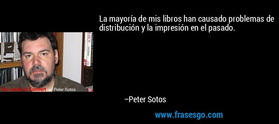 La mayoría de mis libros han causado problemas de distribución y la impresión en el pasado. – Peter Sotos