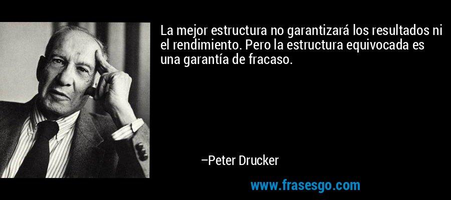 La mejor estructura no garantizará los resultados ni el rendimiento. Pero la estructura equivocada es una garantía de fracaso. – Peter Drucker