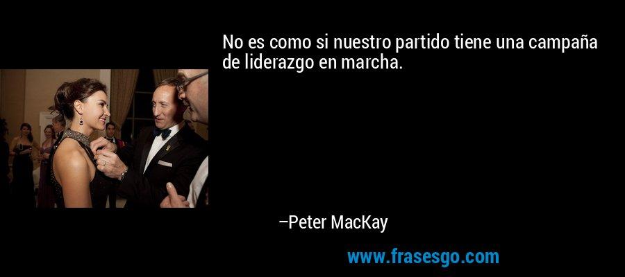 No es como si nuestro partido tiene una campaña de liderazgo en marcha. – Peter MacKay