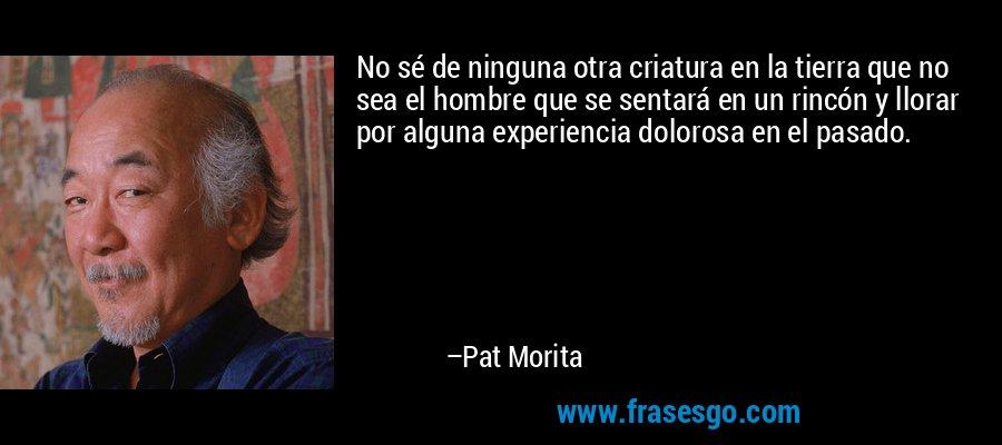 No sé de ninguna otra criatura en la tierra que no sea el hombre que se sentará en un rincón y llorar por alguna experiencia dolorosa en el pasado. – Pat Morita
