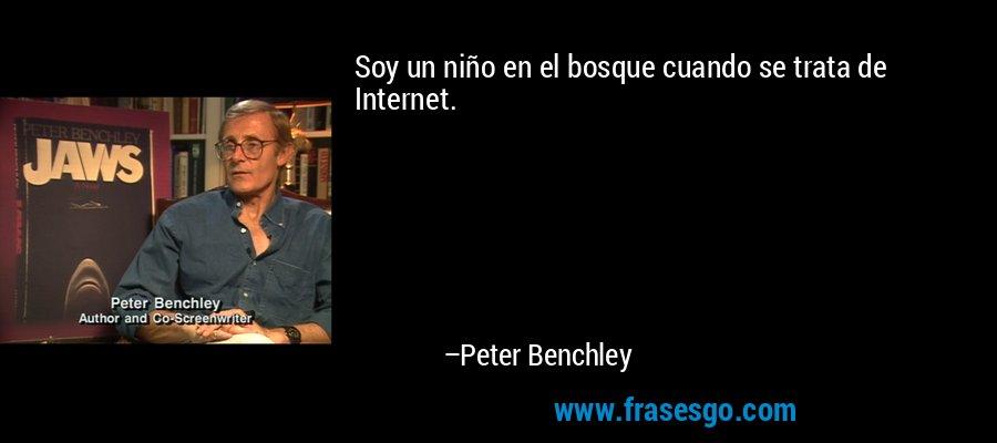Soy un niño en el bosque cuando se trata de Internet. – Peter Benchley