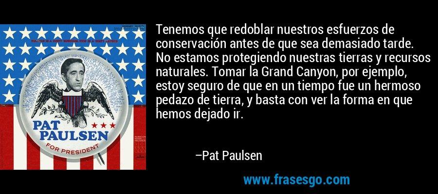Tenemos que redoblar nuestros esfuerzos de conservación antes de que sea demasiado tarde. No estamos protegiendo nuestras tierras y recursos naturales. Tomar la Grand Canyon, por ejemplo, estoy seguro de que en un tiempo fue un hermoso pedazo de tierra, y basta con ver la forma en que hemos dejado ir. – Pat Paulsen