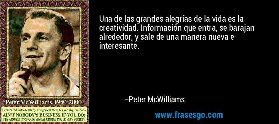 Una de las grandes alegrías de la vida es la creatividad. Información que entra, se barajan alrededor, y sale de una manera nueva e interesante. – Peter McWilliams
