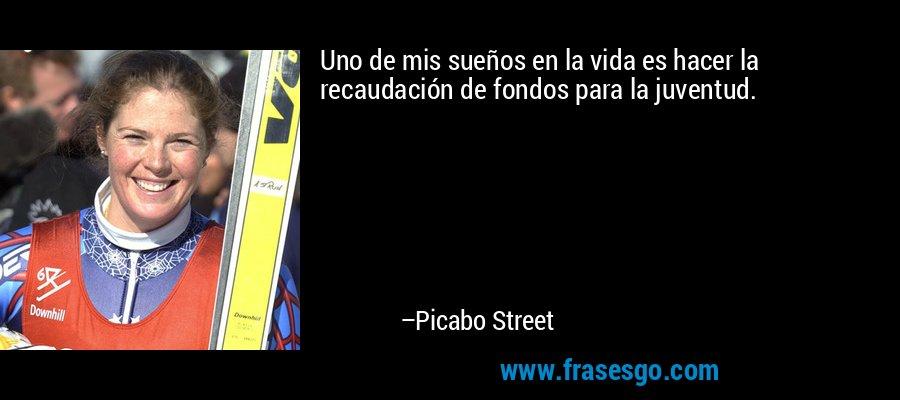 Uno de mis sueños en la vida es hacer la recaudación de fondos para la juventud. – Picabo Street