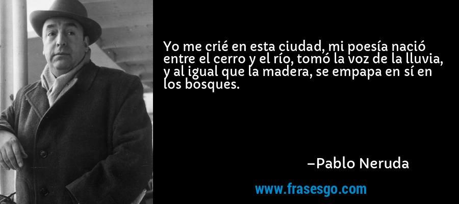 Yo me crié en esta ciudad, mi poesía nació entre el cerro y el río, tomó la voz de la lluvia, y al igual que la madera, se empapa en sí en los bosques. – Pablo Neruda