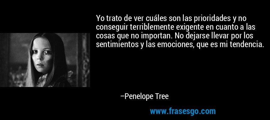 Yo trato de ver cuáles son las prioridades y no conseguir terriblemente exigente en cuanto a las cosas que no importan. No dejarse llevar por los sentimientos y las emociones, que es mi tendencia. – Penelope Tree
