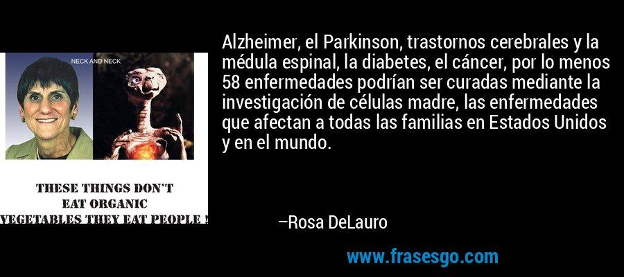 Alzheimer, el Parkinson, trastornos cerebrales y la médula espinal, la diabetes, el cáncer, por lo menos 58 enfermedades podrían ser curadas mediante la investigación de células madre, las enfermedades que afectan a todas las familias en Estados Unidos y en el mundo. – Rosa DeLauro