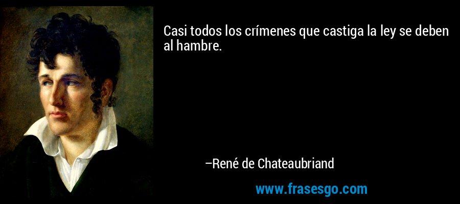 Casi todos los crímenes que castiga la ley se deben al hambre. – René de Chateaubriand