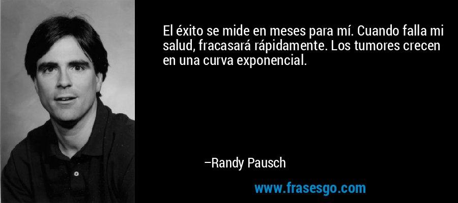 El éxito se mide en meses para mí. Cuando falla mi salud, fracasará rápidamente. Los tumores crecen en una curva exponencial. – Randy Pausch