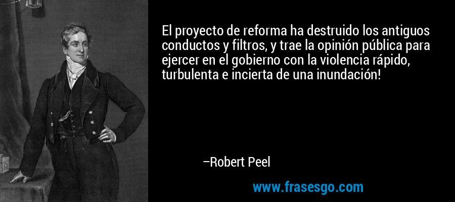 El proyecto de reforma ha destruido los antiguos conductos y filtros, y trae la opinión pública para ejercer en el gobierno con la violencia rápido, turbulenta e incierta de una inundación! – Robert Peel
