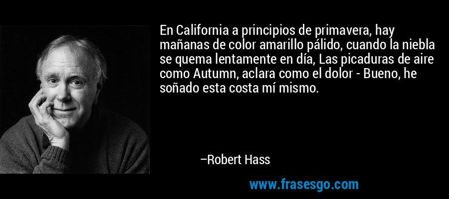 En California a principios de primavera, hay mañanas de color amarillo pálido, cuando la niebla se quema lentamente en día, Las picaduras de aire como Autumn, aclara como el dolor - Bueno, he soñado esta costa mí mismo. – Robert Hass