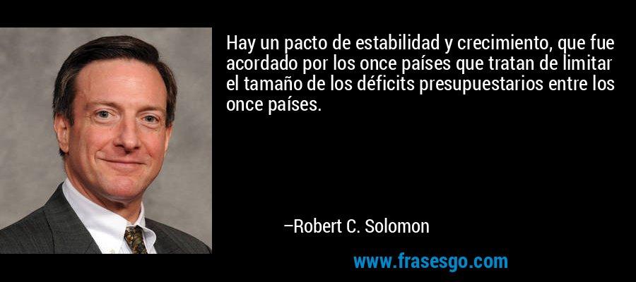 Hay un pacto de estabilidad y crecimiento, que fue acordado por los once países que tratan de limitar el tamaño de los déficits presupuestarios entre los once países. – Robert C. Solomon