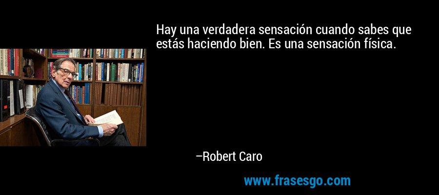 Hay una verdadera sensación cuando sabes que estás haciendo bien. Es una sensación física. – Robert Caro