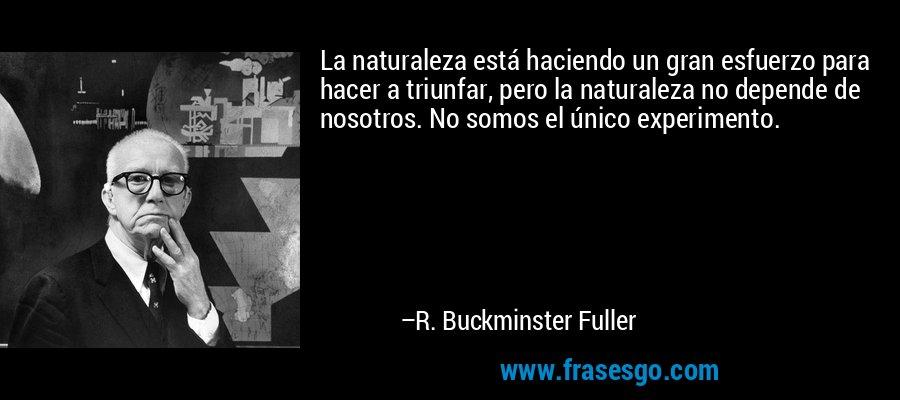 La naturaleza está haciendo un gran esfuerzo para hacer a triunfar, pero la naturaleza no depende de nosotros. No somos el único experimento. – R. Buckminster Fuller