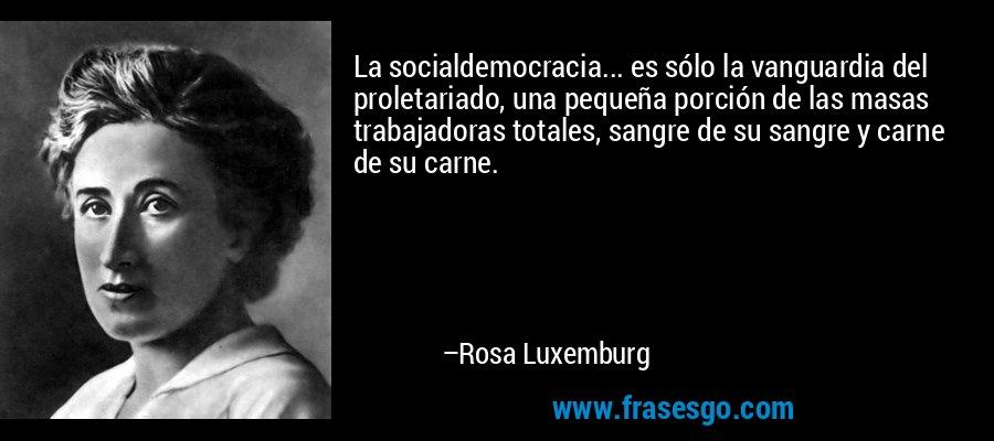 La socialdemocracia... es sólo la vanguardia del proletariado, una pequeña porción de las masas trabajadoras totales, sangre de su sangre y carne de su carne. – Rosa Luxemburg