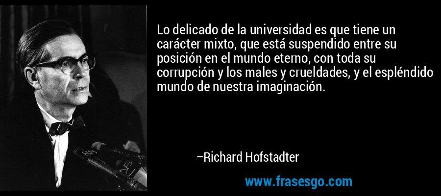 Lo delicado de la universidad es que tiene un carácter mixto, que está suspendido entre su posición en el mundo eterno, con toda su corrupción y los males y crueldades, y el espléndido mundo de nuestra imaginación. – Richard Hofstadter
