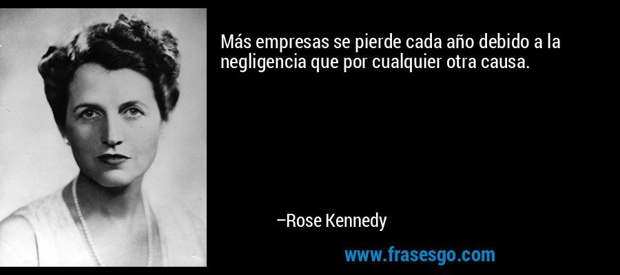 Más empresas se pierde cada año debido a la negligencia que por cualquier otra causa. – Rose Kennedy