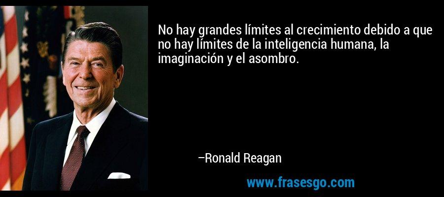 No hay grandes límites al crecimiento debido a que no hay límites de la inteligencia humana, la imaginación y el asombro. – Ronald Reagan