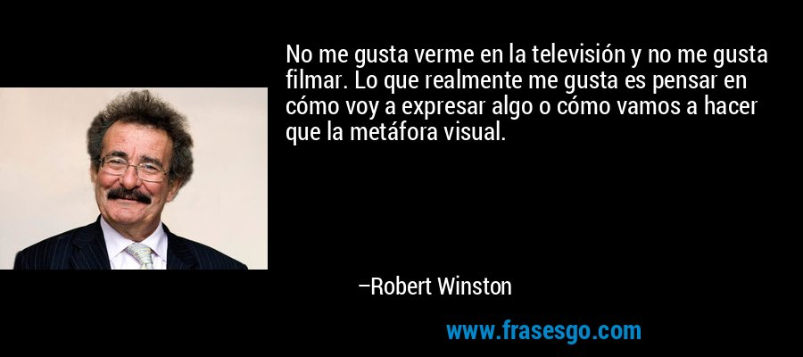 No me gusta verme en la televisión y no me gusta filmar. Lo que realmente me gusta es pensar en cómo voy a expresar algo o cómo vamos a hacer que la metáfora visual. – Robert Winston
