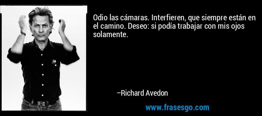 Odio las cámaras. Interfieren, que siempre están en el camino. Deseo: si podía trabajar con mis ojos solamente. – Richard Avedon