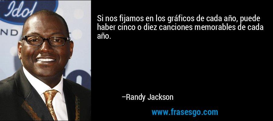 Si nos fijamos en los gráficos de cada año, puede haber cinco o diez canciones memorables de cada año. – Randy Jackson