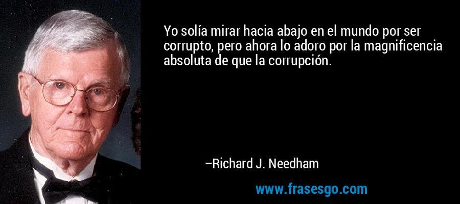 Yo solía mirar hacia abajo en el mundo por ser corrupto, pero ahora lo adoro por la magnificencia absoluta de que la corrupción. – Richard J. Needham