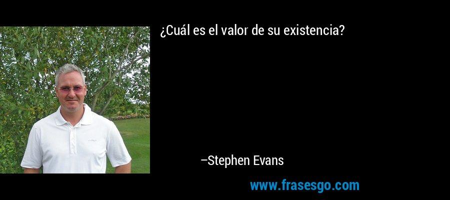 ¿Cuál es el valor de su existencia? – Stephen Evans